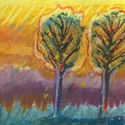 Two trees, image 10x10cm, oil pastel, SOLD