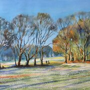 A: Boxing Day walk on Chorleywood Common, acrylic on paper, NSF