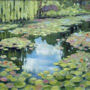 Water lilies in Monet's garden at Giverny 2, oil