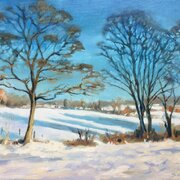 A: Snowy Fields by Chalfont St Giles, oil on board, SOLD