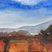 Peat Smoke, watercolour, mounted, image 25 x 10 cm SOLD