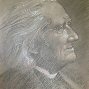 Franz Liszt, 25 x 30cm, charcoal and chalk, NOT FOR SALE
